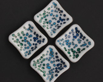 4 Slumped Glass Plate Set - White with Blue and Green  - Small Square Appetizer dish, Condiment dish, Dipping Sauce, Asian Dish, Sushi dish