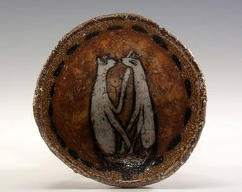 Hand Pinched One of a Kind Footed Ceramic Wood Fired Bowl by Jenny Mendes - Two White Dogs Playing