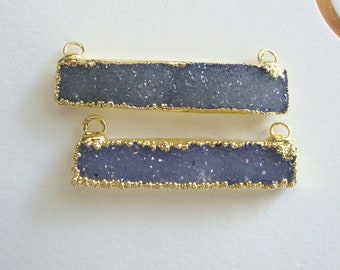 2 pcs, 35mm, Natural Drusy Druzy Tinted Denim Blue Gold Bar Pendant, 24K Gold Electroplated,M12B-2c