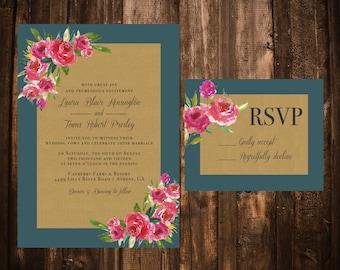 Teal & Pink Floral Kraft Wedding Invitations; Printable OR set of 25