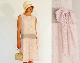 Flapper dress, pink lace 1920s flapper dress, Great Gatsby dress, high tea, garden party dress, 1920s bridesmaid dress, drop waist dress