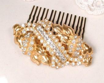 Vintage Gold Hair Comb/Dress Sash Brooch, Art Deco Rose Gold Rhinestone Bridal Headpiece OR 1920s Wedding Pin Great Gatsby Hairpiece 22K