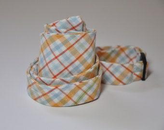 Men's Bow Tie in Orange and Blue Plaid Freestyle Bowtie