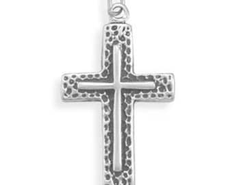 MENS Textured Cross Pendant - 925 Sterling Silver
