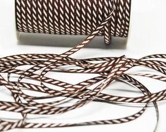 Solid Diagonal Stripe Ribbon -- 1/8 inch -- Chocolate Brown White Stripe