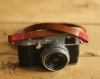 Windmup Cool brown 12mm handmade leather camera strap Soft antique strong thick