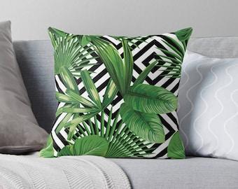 Palm Print Pillow | Palm Leaf Pillow Case | Banana Leaf Pillow Case | Palm Pillow Case | Palm Leaf Pillow | Banana Leaf Pillow | Palm Pillow