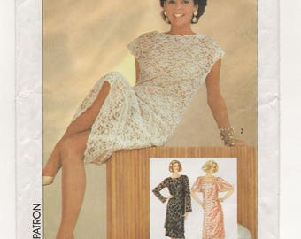 "A Lace Overdress and Slip Dress w/Sleeve & Neckline Variations Sewing Pattern for Women: Uncut - Size 10, Bust 32-1/2"" • Simplicity 6837"
