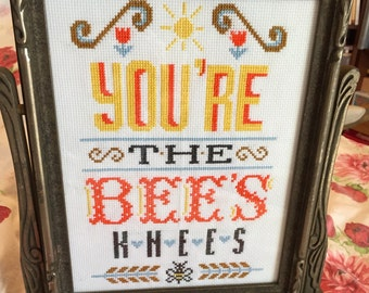 Sassy You're the Bees Knees Finished Cross Stitch