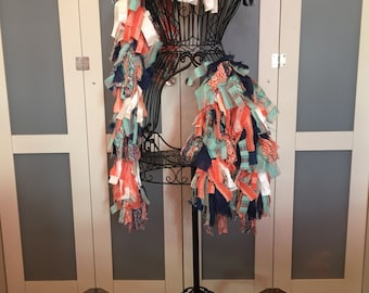 Mommy & Me // Tattered Fabric Boa // Garland // Bohemian, Glamour // Fashion Accessory // Coral, Blue, White // Zombiesque Creations #17/18