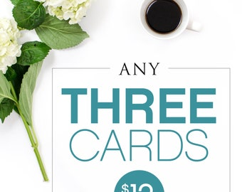 Choose any 3 cards / Bundle Pack Cards / Card Bundle Deal /  Birthday Cards / Love Cards / Funny Greeting Cards / Flair and Paper / Card Set