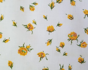Vintage Small Yellow Flowers on White