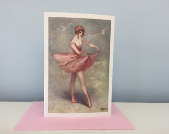 Vintage Ballerina Holding Her Tutu Card, Ballet Card, Ballerina Greeting Card, Mother's Day Card, Thank You Card