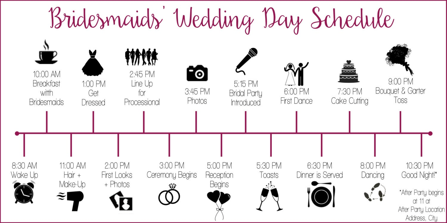 Wedding party schedule timeline with icons customized and zoom junglespirit Images