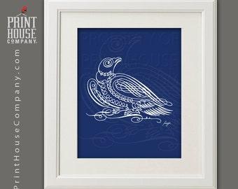 Eagle Calligraphy Illustration, 8x10 archival, giclee, fine art digital print