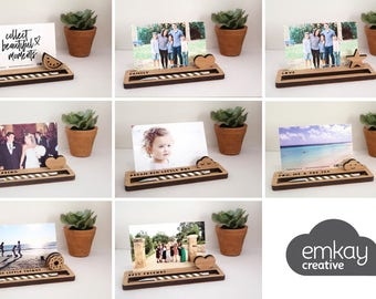 Photo Stands - Desk Organiser MEDIUM - Photo Holder, Desk Caddy, Memory Holder, Quote Display, made from Bamboo
