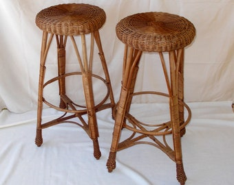 "Wicker Stool, Tall 31"", Plant Stand, Vintage"