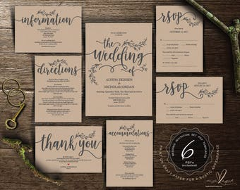 We do Wedding Invitation cards suite, Instant download PDF editable template, Kraft rustic calligraphy design theme Wedding Set (TED418_1)
