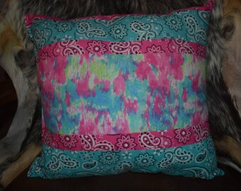 Decorative patchwork throw pillow tye dye, pink paisley & turquoise paisley