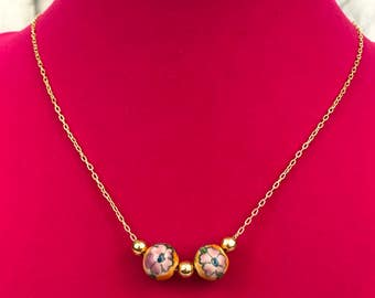 Gold Tone Floral Beaded Chain Necklace, New, Gift