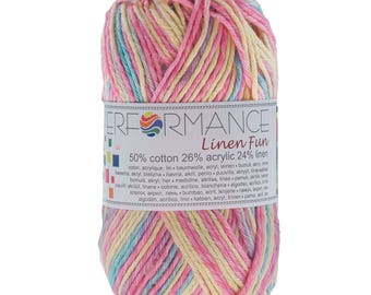 10 x 50g knitted yarn linen fun #9010 Yellow-blue-pink