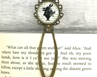 Alice In Wonderland Bookmark - March Hare/White Rabbit - Literary Gift - Literary Quote - Vintage Bronze & Glass