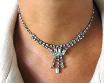 Vintage Silver Necklace, Rhinestone Necklace, 1950's Jewelry, Wedding Jewelry, Bridal Jewelry