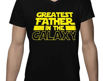 Greatest Father In The Galaxy Funny Fathers Day Gift Idea Present Men's V-Neck SF-0335