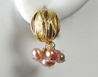 Pink Pearls with Textured Gold Oval Post Earrings