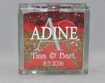 "Sand Ceremony Glass Block  8""x 8"""