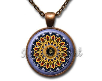 Medallion Pattern Glass Dome Pendant or with Chain Link Necklace PT143