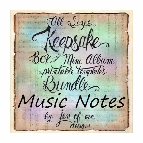 ALL SIZES Keepsake Box & Mini Album Printable Template Bundle in MUSIC Notes and Plain