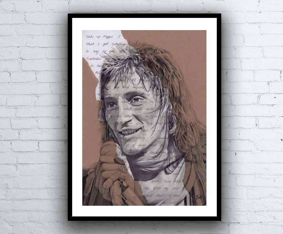 Lyric maggie may lyrics : Rod Stewart Portrait signed Giclée art print with Maggie May