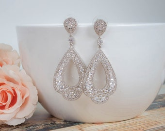 Long Bridal Earrings | Bridesmaid Jewelry | Wedding Jewelry | Bridal Earrings | Dangle Earring | Chandelier Earrings | Long Earrings