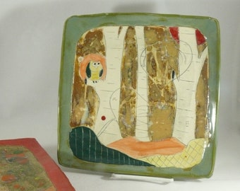 Square Plate Kitchen Dinnerware Owl Dish Aspen Tree Art Ceramics and Pottery Snack Tray Cookie Platter Anniversary Gift for her decor