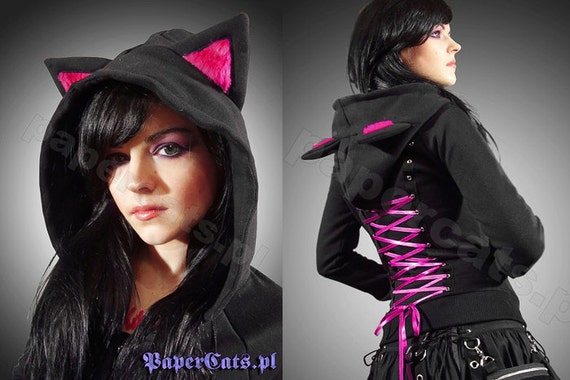 Hoodie Black Cat Ears Corset Kawaii by Etsy