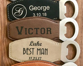 Personalized Bottle Opener, Groomsmen Gift, Beer Opener, Monogrammed Leather, Wedding Party Gift, Best Man Gift, Father of the Bride Gift