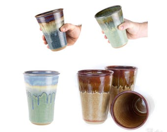 Hand thrown stoneware pint glass style tumbler in your choice of size and glaze  /  MADE TO ORDER (6 weeks)