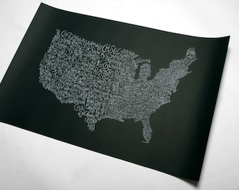 United States food map. Limited edition screen print. Signed and numbered.