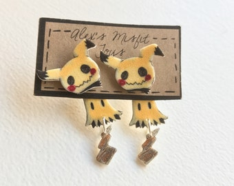 Cute clinging mimikyu faux gauge earrings