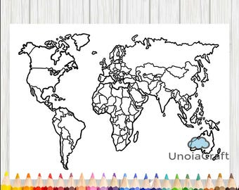 World map printable etsy blank world map coloring page printable world map sheet travel map diy print gumiabroncs Image collections