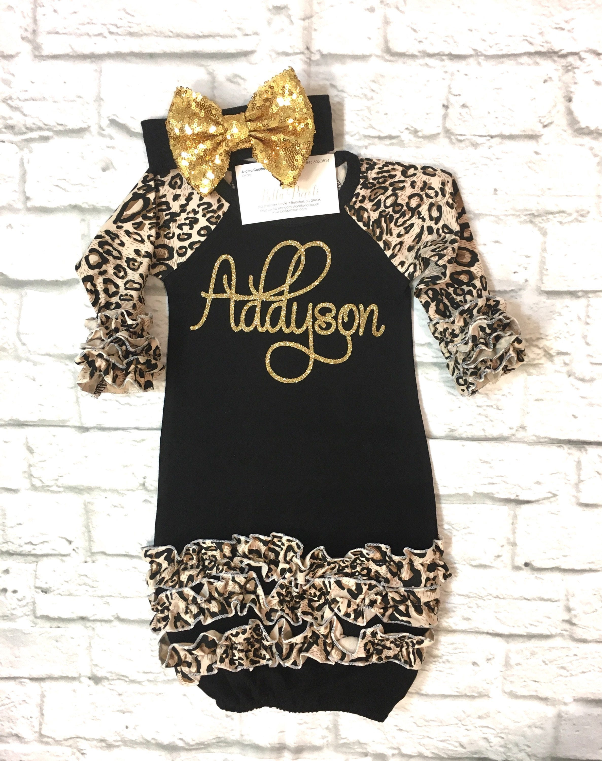 Baby Girl Clothes Leopard Baby Gown Baby Girl Leopard Gown