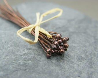 Antique copper ball head pins - Copper Headpins - Copper Findings - Jewellery Making Supplies -  Ball End Head Pin - Headpins ~ Antique ~