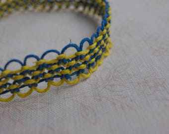 16 inch yellow and blue hemp necklace