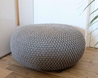 Knitted Pouf Poof, Ottoman, Footstool, Home Decor, Pillow, Bean Bag, Floor cushion Floor Puff