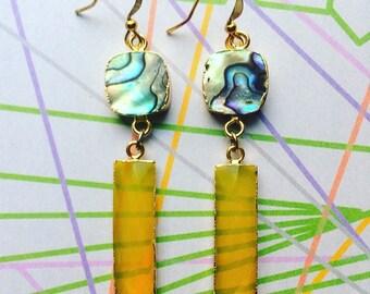 Yellow chalcedony earrings, yellow gemstone earrings, abalone and crystal earrings,longs abalone earrings,chalcedony earrings,gem dangles