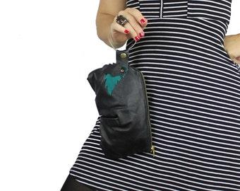 Megan Leone Black Teal & Gold Leather Bracelet Handbag