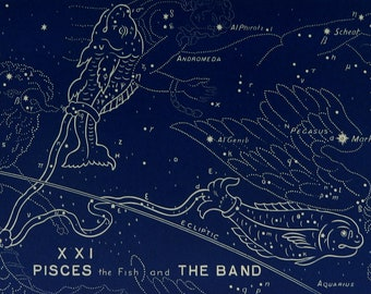 "1928.Astronomy.Antique print.Astrology.Zodiac""The witness of the stars"".PISCES.Constellations,stars.Astronomy print.5.8x9 "",15x23 cm."