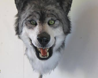 fursuit Gray Wolf mask wolf fursuit mask has book