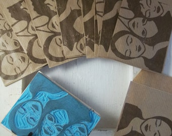 Decorated Kraft bags (11.5 cm by 7 cm). Set of 10 for creations, gifts...